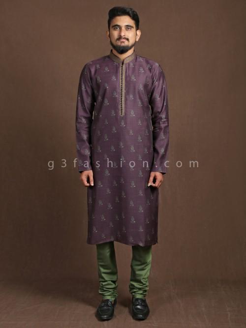 Purple Cotton Printed Kurta Suit
