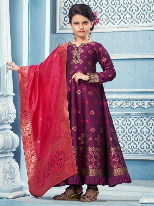 Purple Cotton Silk Floor Length Anarkali Anarkali Suit