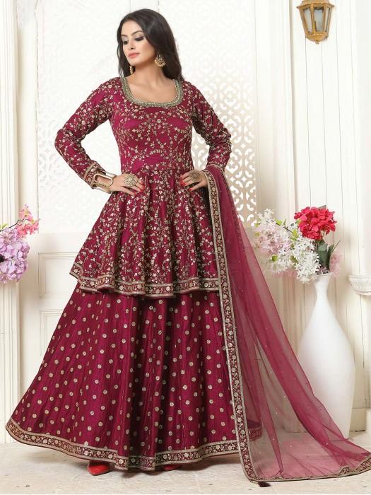 Purple Designer Punjabi Lehenga Suit In Raw Silk