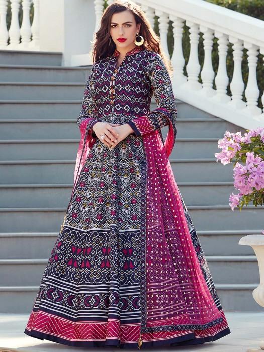 Purple Hue Patola Silk Floor Length Anarkali Suit