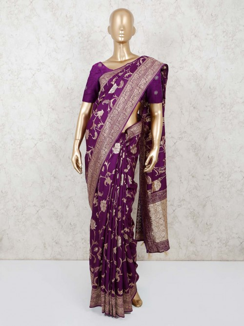 Purple Munga Silk Saree For Festival