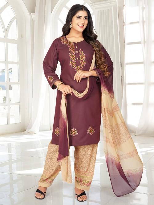 Purple Punjabi Cotton Salwar Suit Set For Festive