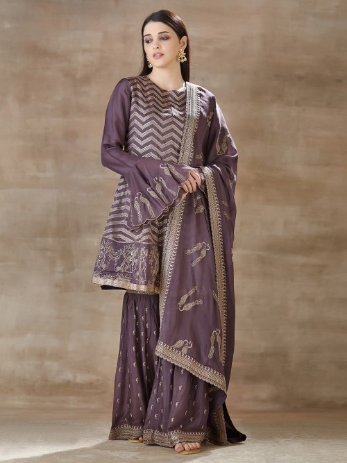 Purple Punjabi Sharara Suit For Festive In Cotton Silk