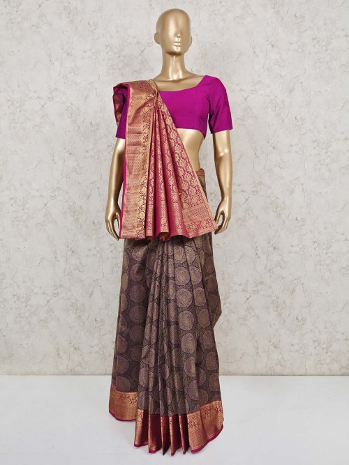 Purple Saree Design In Pure South Silk