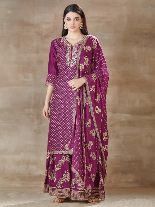 Purple Sharara Set In Cotton For Festive Look