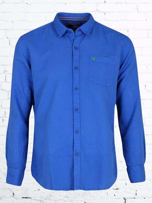 R&C Casual Wear Blue Cotton Shirt