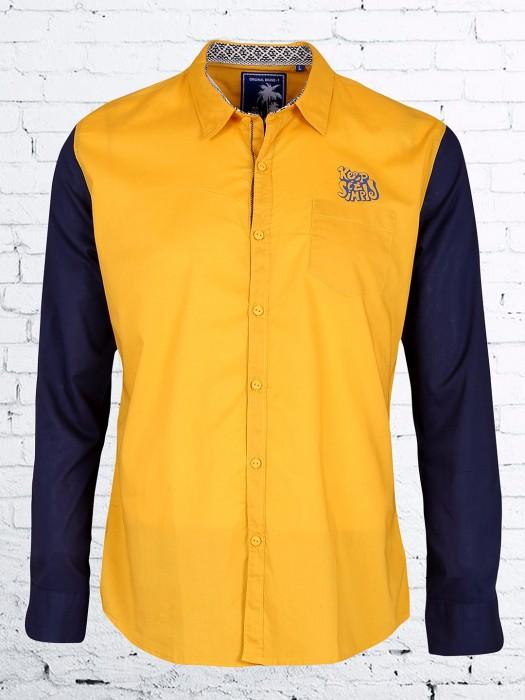 R&C Plain Yellow Slim Fit Shirt