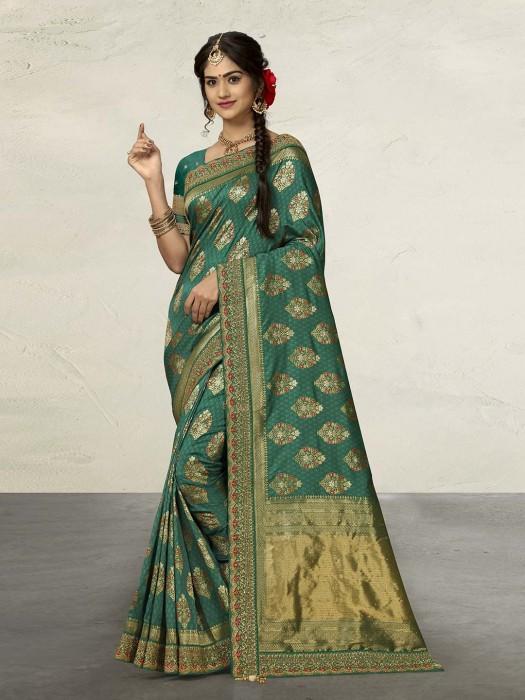 Rama Green Banarasi Silk Saree With Unstitched Blouse Piece