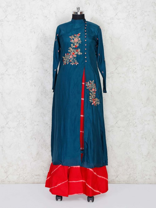 Rama Green Cotton Silk Party Indo Western Suit