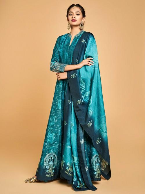 Rama Green Festive Anarkali Salwar Suit Design In Cotton Silk