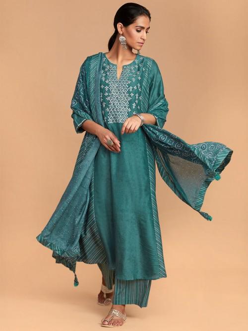 Rama Green Festive Function Palazzo Suit