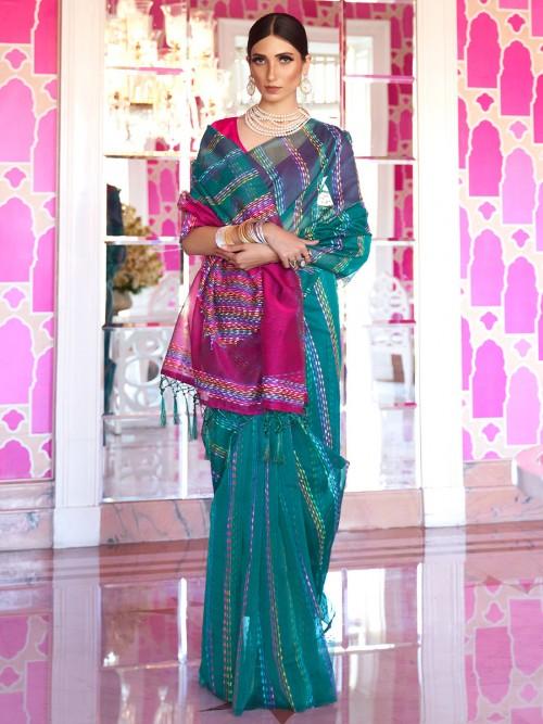 Rama Green Handloom Silk Saree In Festive