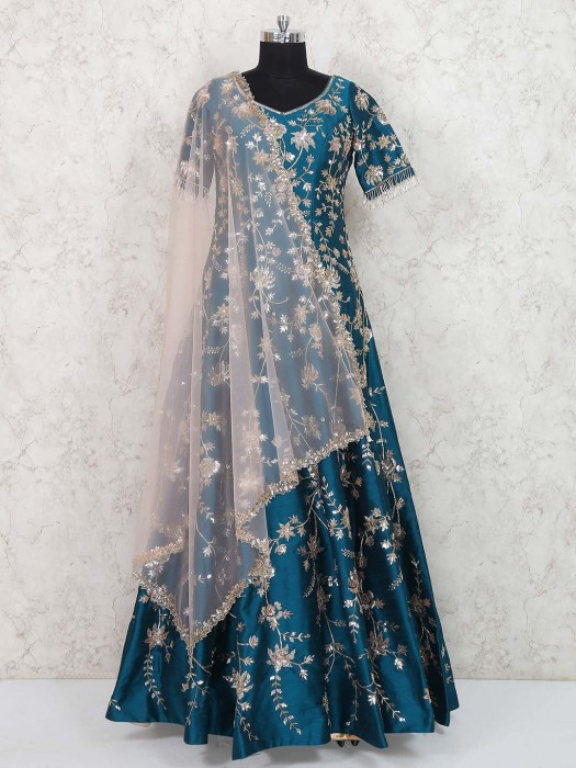 Rama Green Hued Wedding Wear Gown