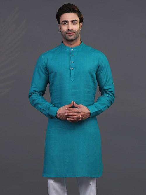 Rama Green Linen Festive Wear Mens Kurta