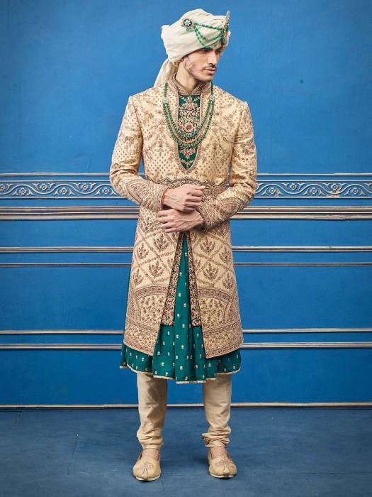 Raw Silk Beige Green Jacket Style Designer Sherwani
