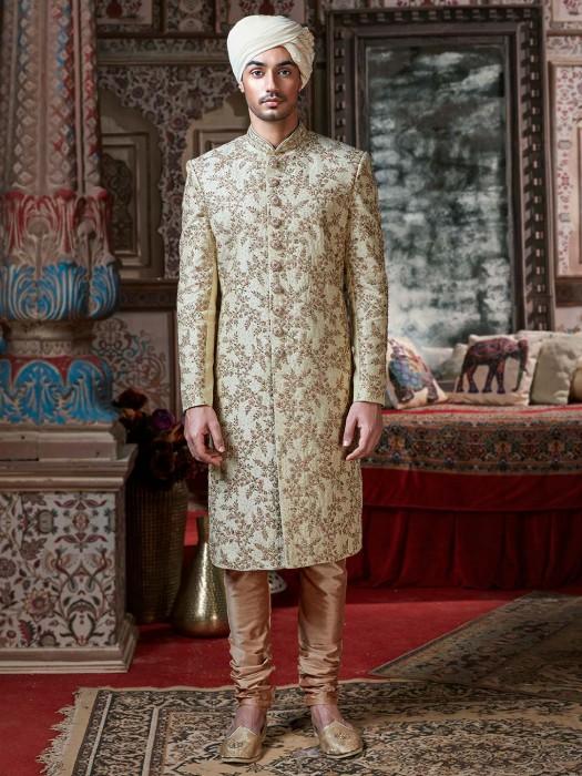 Raw Silk Beige Groom Wear Classic Sherwani