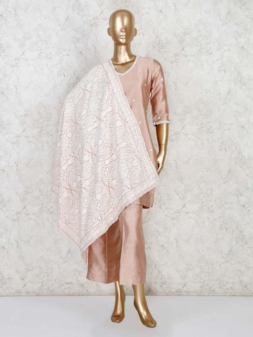 Raw Silk Beige Punjabi Palazzo Suit