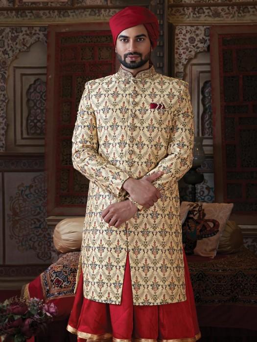 Raw Silk Beige Sherwani For Groom