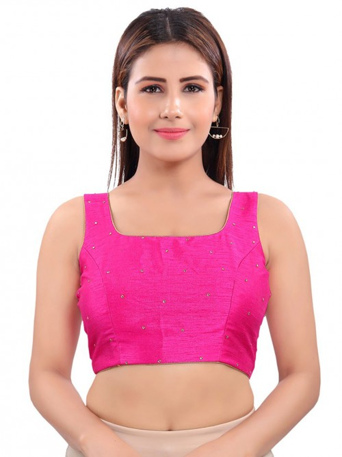 Raw Silk Blouse With Sequence Details In Magenta Color