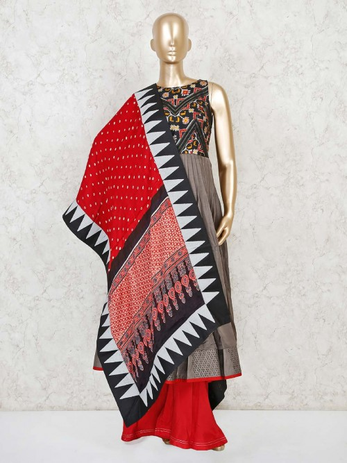Raw Silk Designer Anarkali Suit With Bandhej Dupatta