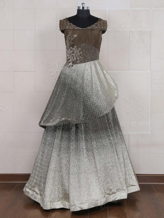 Raw Silk Fabric Floor Length Brown Hue Gown