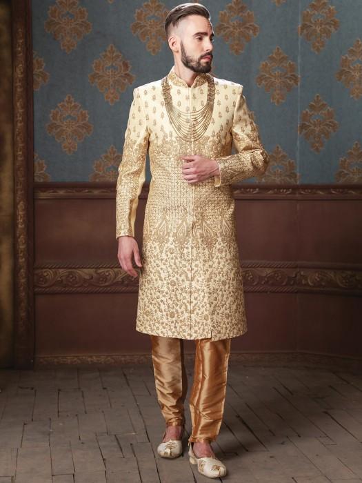 Raw Silk Fabric Groom Wear Cream Sherwani