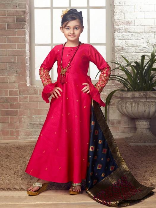 Raw Silk Fabric Wedding Wear Anarkali Suit