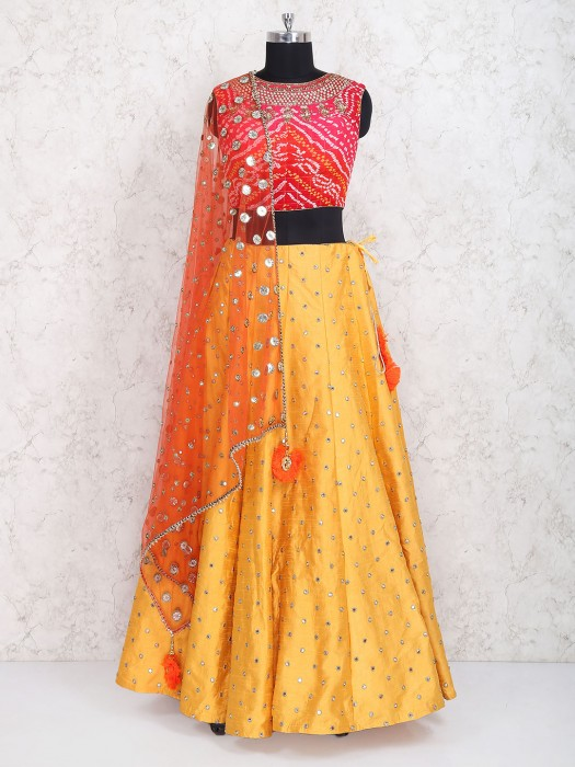 Raw Silk Fabric Yellow And Red Wedding Lehenga Choli