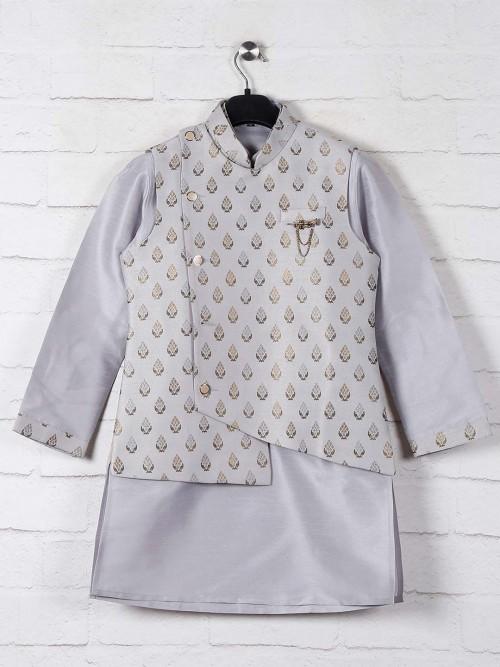 Raw Silk Grey Boys Waistcoat Set