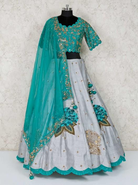 Raw Silk Grey Wedding Lehenga Choli