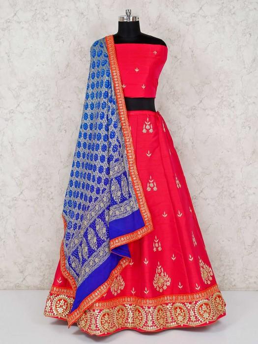 Raw Silk Magenta Semi Stitched Lehenga Choli Wedding Wear