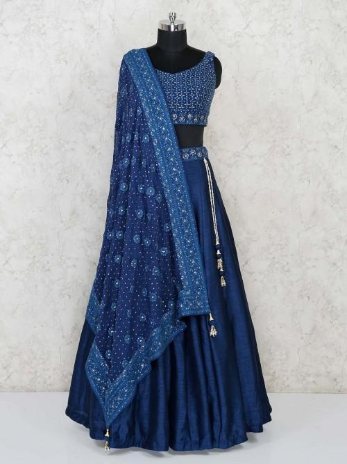 Raw Silk Navy Blue Lehenga Choli For Wedding