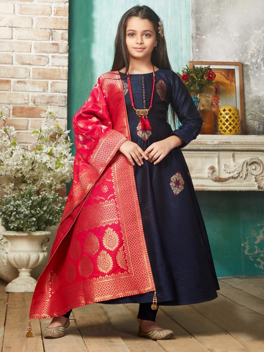 Raw Silk Navy Colored Party Wear Anarkali Suit