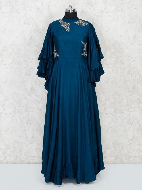Raw Silk Party Designer Bandhgala Anarkali Suit