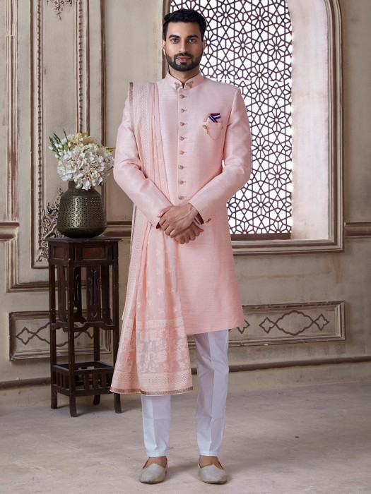 Raw Silk Pink Sherwani For Groom