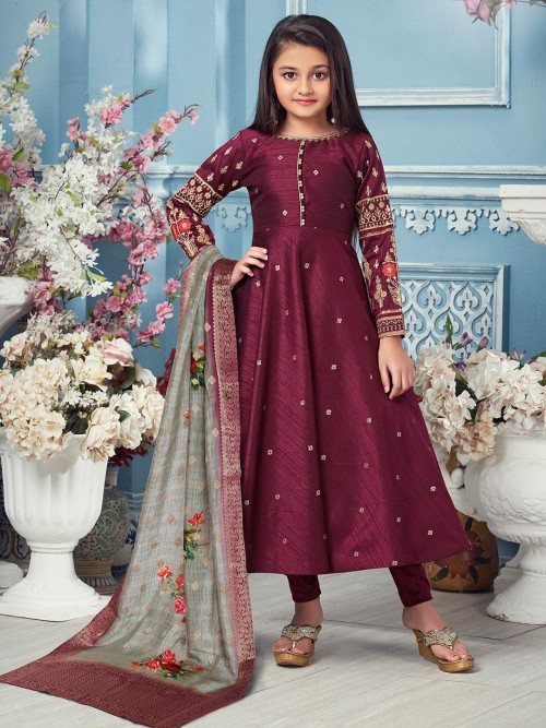 Raw Silk Purple Boat Neck Anarkali Suit