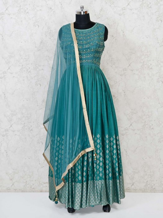Raw Silk Teal Green Floor Length Party Anarkali Suit