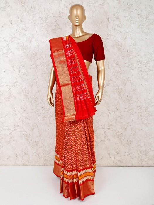Reception Wear Hydrabadi Patola Silk Orange Saree