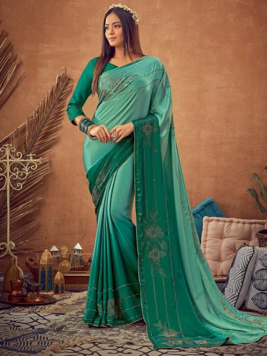 Reception Wear Sea Green Saree In Satin