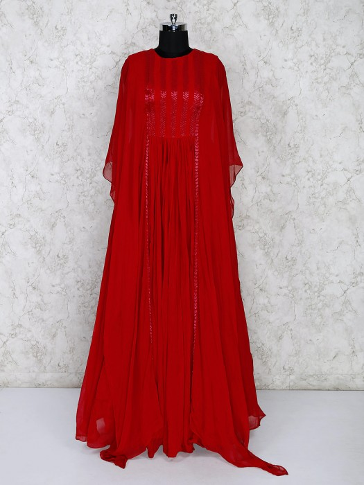 Red Anarkali Suit With Long Shrug