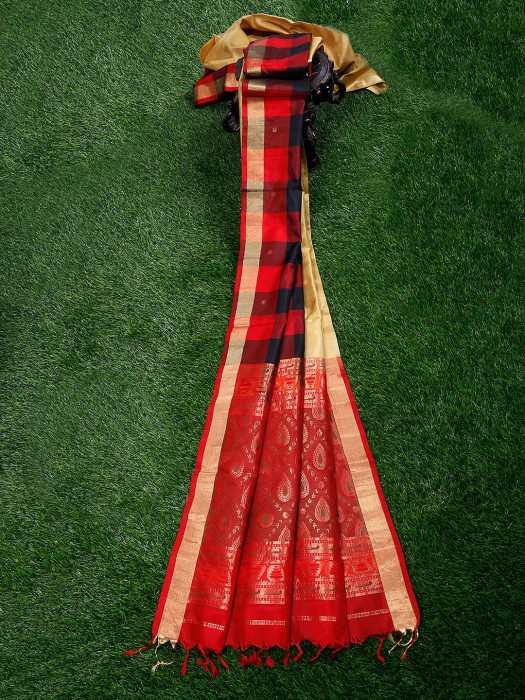 Red And Black Wedding Pure Silk Saree