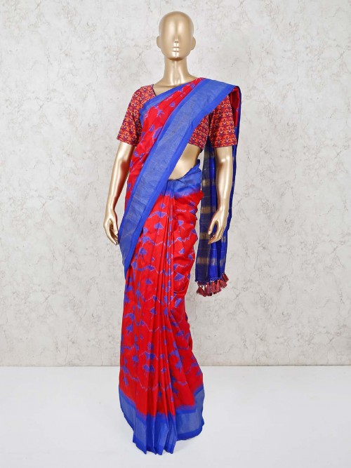 Red And Blue Patola Silk Ready Made Blouse Saree For Festivals