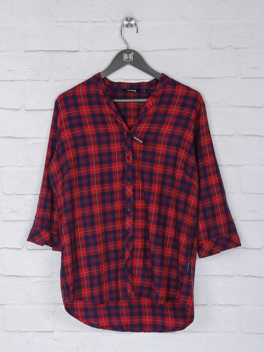 Red And Navy Checks Pattern Top