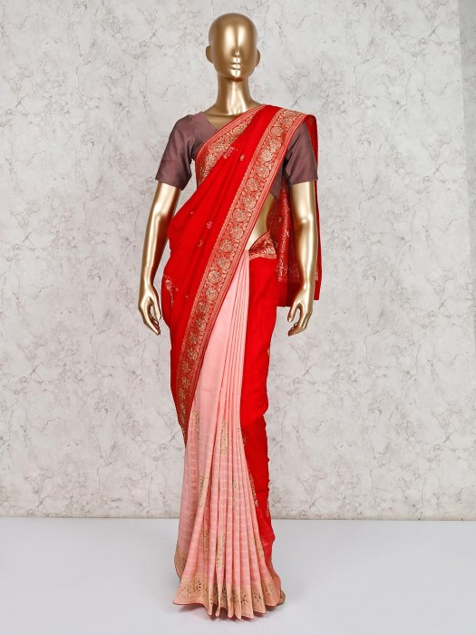 Red And Pink Half And Half Saree In Silk