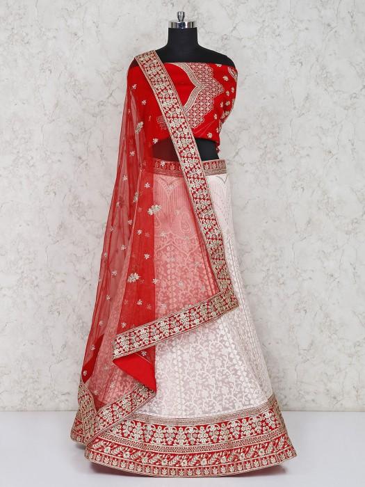 Red And White Wedding Georgette Semi Stitched Lehenga Choli