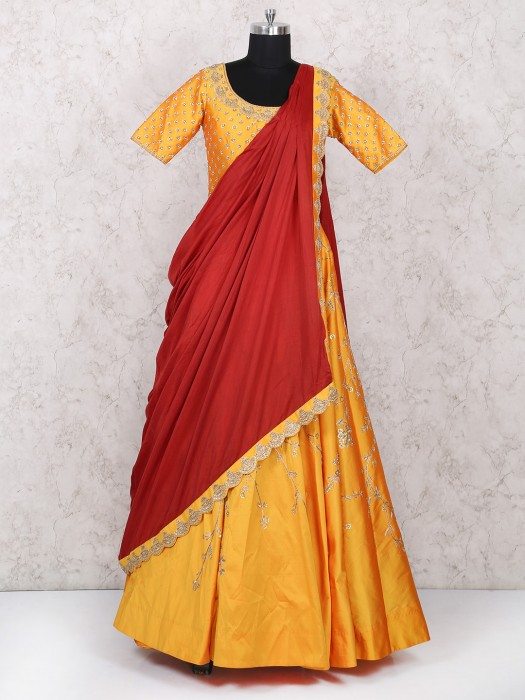 Red And Yellow Wedding Wear Gown