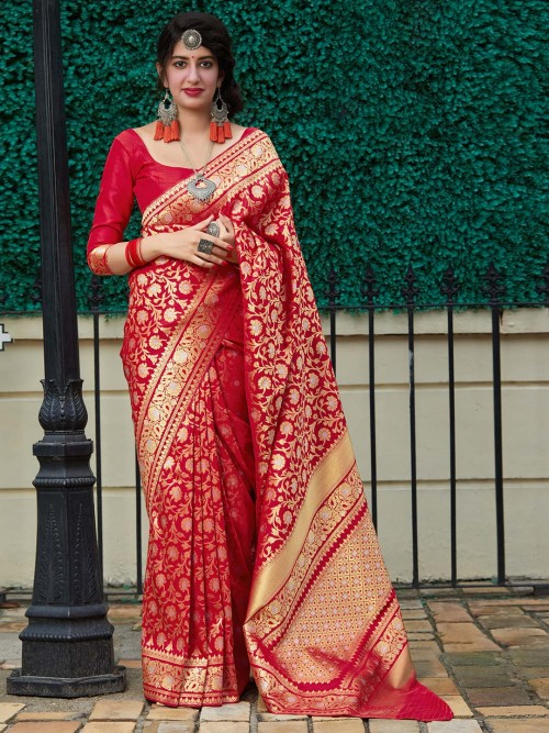 Red Banarasi Silk Designer Wedding  Saree