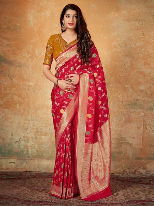 Red Banarasi Silk Wedding Function Saree