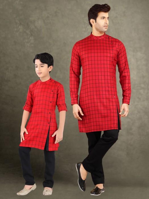 Red Checks Cotton Father Son Kurta Suit