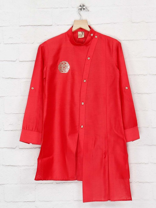 Red Color High Low Hem Wedding Kurta Suit